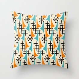Mid Century Modern Atomic Wing Composition Orange & Blue Throw Pillow
