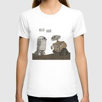 wall e T-shirts featuring R2D2 and Wall E by Victoria Schiariti