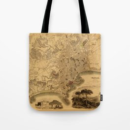 Map of Naples 1835 Tote Bag