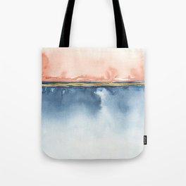 Indigo Blue, Gold And Blush Peach Pink Abstract Watercolor Art Tote Bag