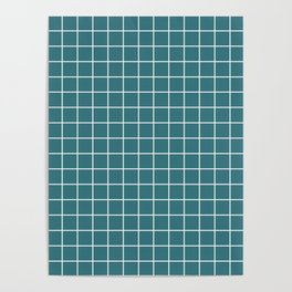 Ming - blue color - White Lines Grid Pattern Poster