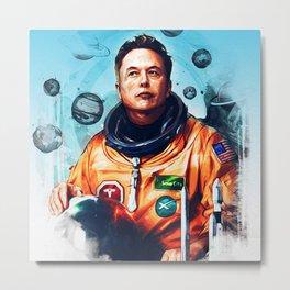 Astronaut Elon Musk Metal Print