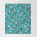 Horse Pattern, Floral Print, Turquoise, Little Girls Room, Horses by cateandrainn