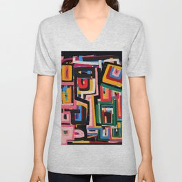 Neo Cubism Abstract Art Pattern Mystic Unisex V-Neck