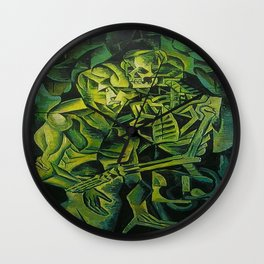 A Skeleton Embracing A Zombie Halloween Horror Wall Clock