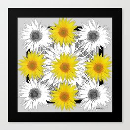 Decorative B&W Yellow-White Sunflowers Canvas Print