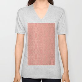 Simply Mid-Century in White Gold Sands on Salmon Pink Unisex V-Neck