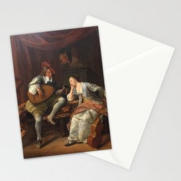 Jan Steen - Cavalier Playing a Lute to a Lady ('Lucelle and Ascagnes') Stationery Cards