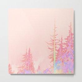 Winter forest in icecream pink Metal Print
