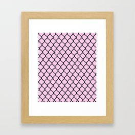 Chain Link Black on Blush Framed Art Print