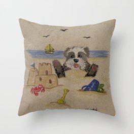 Sheepies at the beach 2 Throw Pillow
