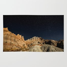 Into the Sea - Night Sky Over the South Dakota Badlands Rug