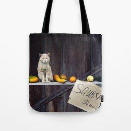 Autumn Cat with Squash Tote Bag