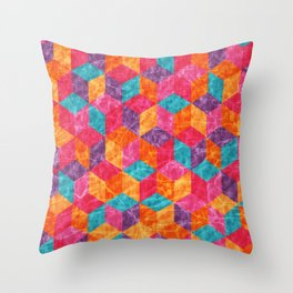 Colorful Isometric Cubes II Throw Pillow