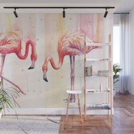 Two Flamingos Watercolor Tropical Birds Animals Wall Mural