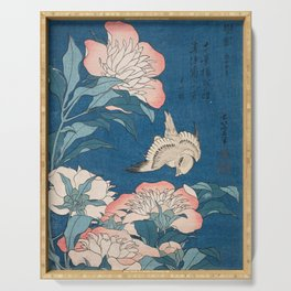 Katsushika Hokusai - Peonies and Canary, 1834 Serving Tray
