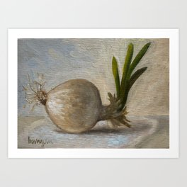 White Onion with Sprout Art Print