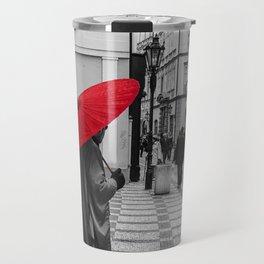 The Red Umbrella cityscape black and white photograph / art photography Travel Mug