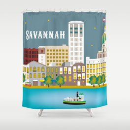 Savannah, Georgia - Skyline Illustration by Loose Petals Shower Curtain