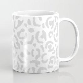 Grey Leopard Skin Print Gray White Cheetah Cat Pattern Coffee Mug