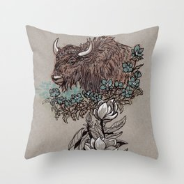 Buffalo Wildflower and Magnolias Throw Pillow