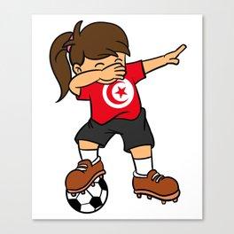 Tunisia Soccer Ball Dabbing Girl Tunisian Football Canvas Print