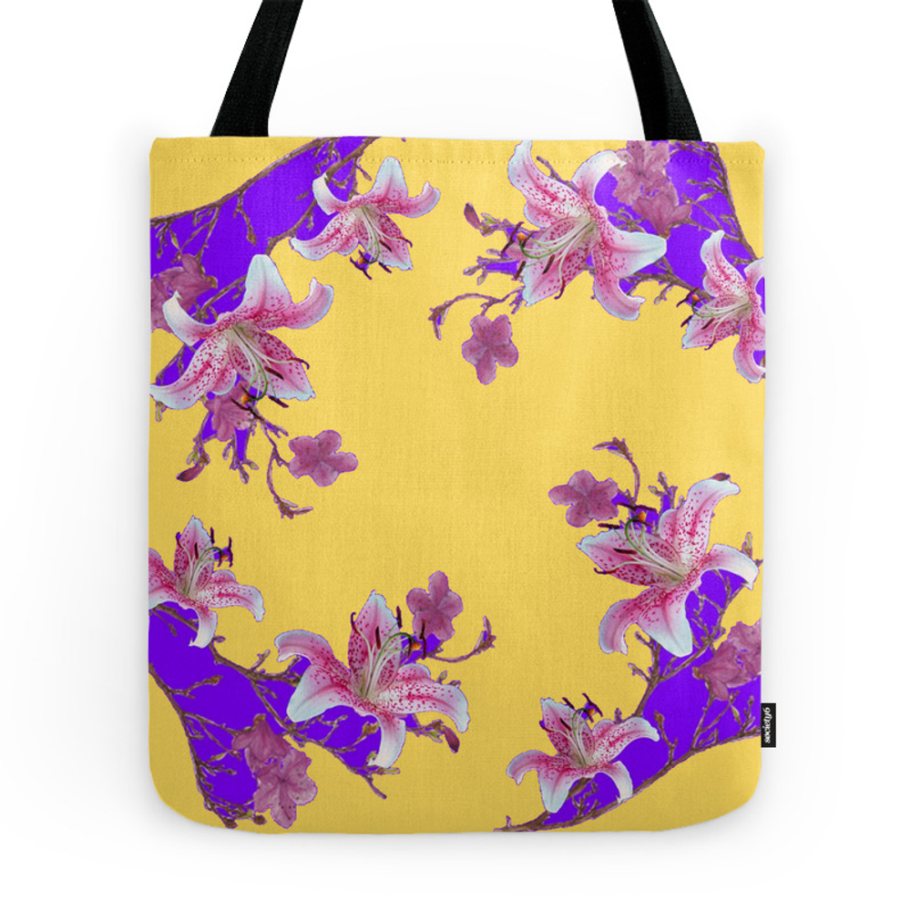 Oriental Style Purple-Yellow Flowers Tote Purse by sharlesart (TBG7240600) photo