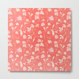 Elegant Vine and Leaves Pattern Living Coral Metal Print