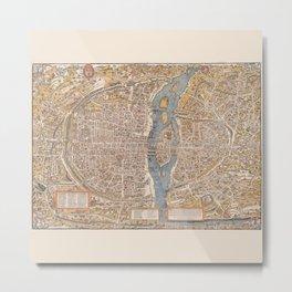 Pictorial Ancient Map of Paris Metal Print