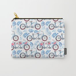 Vintage watercolor pink blue bicycle floral Carry-All Pouch