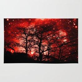 black trees red space Rug