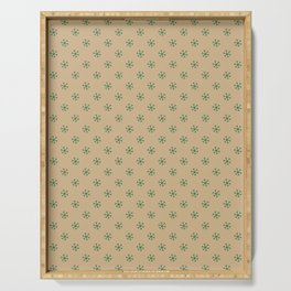 Cadmium Green on Tan Brown Snowflakes Serving Tray