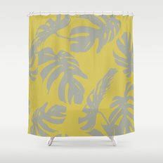 Palm Leaves Retro Gray on Mod Yellow Shower Curtain