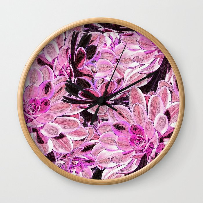 Pink Desert Succulents Wall Clock