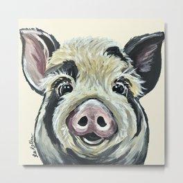 Pig Art, Farm Animal, Cute Pig Painting Metal Print