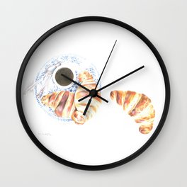 Coffee and croissants Wall Clock