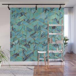 Blue Marble Hexagonal Pattern Wall Mural