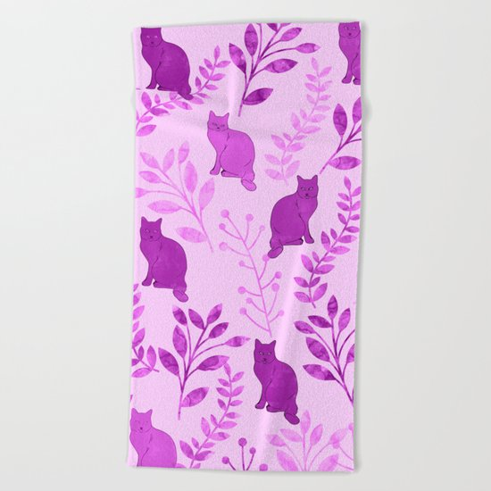 Watercolor Floral and Cat V Beach Towel