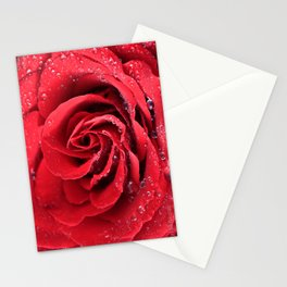 Red Swirl Rose Stationery Cards