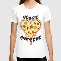 vegetarian T-shirts featuring Veggie Supreme - Deluxe Vegetarian Heart Shaped Pizza  by MagicCircle
