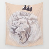 the lion king Wall Tapestries featuring Lion King by Ous Art