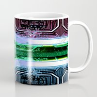 south africa Mugs featuring circuit board South Africa (Flag) by seb mcnulty