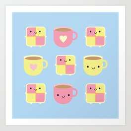 Kawaii Battenberg Cake & Cup of Tea Art Print
