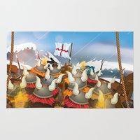 vikings Area & Throw Rugs featuring Cute cartoon vikings on the long ship by Nick's Emporium
