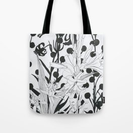Vintage floral in black and white Tote Bag