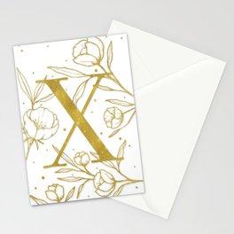 Letter X Gold Monogram / Initial Botanical Illustration Stationery Cards