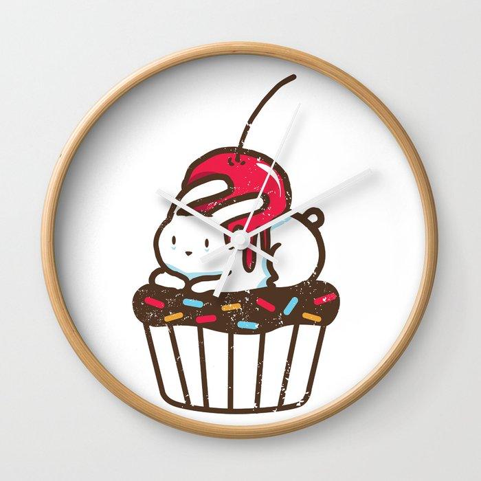 Chubby Bunny on a cupcake Wall Clock