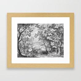Landscape with Judah and Tamar Framed Art Print