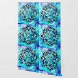 Galaxy Mandala Aqua Indigo Wallpaper