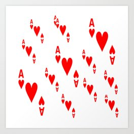 LOTS OF DECORATIVE  RED  ACES & HEARTS PLAYING CARDS CASINO ART Art Print